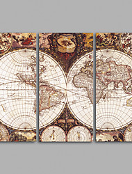 Canvas Set / Unframed Canvas Print Retro World MapThree Panels Canvas Horizontal Print Wall Decor For Home Decoration