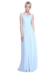 2017 Lanting Bride® Floor-length Chiffon Beautiful Back Bridesmaid Dress - Sheath / Column Cowl with Ruching