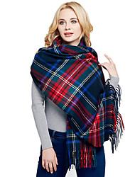Women Wool Casual Stitching Plaid Tassels Long Scarf Shawl