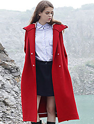 M Women's Casual/Daily Simple CoatSolid Hooded Long Sleeve Winter Red Wool