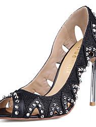 Damen-High Heels-Hochzeit Party & Festivität-Leder-Stöckelabsatz-Komfort Club-Schuhe Light Up Schuhe-Schwarz