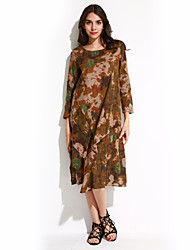 Women's Casual/Daily Chinoiserie Loose Dress,Floral Stand Midi Long Sleeve Green Linen Summer