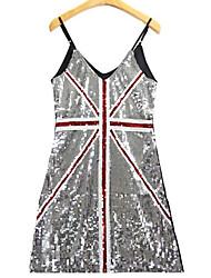 Moulante Robe Femme Décontracté / Quotidien Vintage,Rayé Col Arrondi Au dessus du genou Sans Manches Multi-couleur Coton Printemps Eté