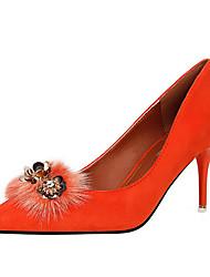Damen-High Heels-Hochzeit Lässig Party & Festivität-Samt Pelz-Stöckelabsatz Kristallabsatz Schmuckabsatz-Fersenriemen-Schwarz Rosa Rot