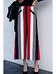 Autumn and winter new Korean version was thin loose trousers ladies fashion stripes hit color printing wide leg pants