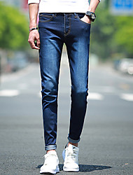 Men's Slim Jeans Pants,Casual/Daily Simple Solid Mid Rise Zipper Cotton Micro-elastic All Seasons