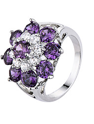Ring AAA Cubic Zirconia Zircon Cubic Zirconia Steel Simple Style Fashion Purple Jewelry Casual 1pc