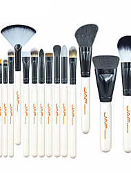 JAF® 15 Makeup Brush Set Goat Hair Synthetic Pony Full Coverage Professional Travel Wood Lip Face Eye Animal Hair White Handle Conveniently Portable