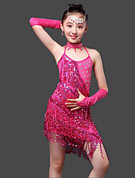 Latin Dance Dresses Children's Performance Milk Fiber Crystals/Rhinestones / Sequins 4 Pieces Sleeveless Dropped Gloves / Dress / Neckwear