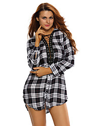 Women's Lace-up Front Plaid Shirt Dress