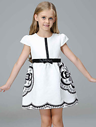 Girl's Party/Cocktail Solid Dress,Polyester / Blended Cotton All Seasons Sleeveless