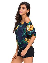 Women's Off The Shoulder Floral Off-the-shoulder Top