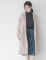 Women's Casual/Daily Simple Coat,Solid Long Sleeve Winter Green / Purple Faux Fur
