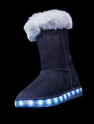 Girls' Boots Comfort Snow Boots Light Up Shoes Winter PU Casual LED Flat Heel Black Gray Blushing Pink Camel Flat