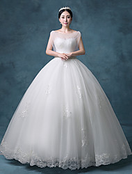 Princess Wedding Dress Floor-length Sweetheart Lace / Organza / Tulle / Sequined with Appliques / Beading / Crystal / Lace / Sequin
