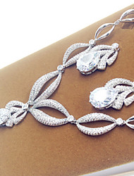 Jewelry Set Zircon Cubic Zirconia Bridal Drop Silver Party 1set Necklaces Earrings Wedding Gifts