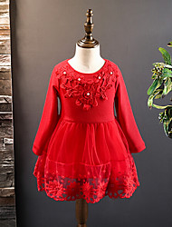 Girl's Casual/Daily Print Dress,Cotton Rayon Winter Fall Long Sleeve
