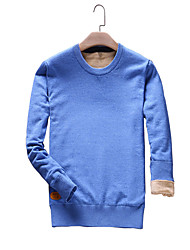 Men's Going out Casual/Daily Plus Size Vintage Simple Street chic Regular Pullover,Solid Blue Red Black Gray Orange Round Neck Long Sleeve