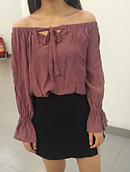 Sign sexy small wild strap collar horn sleeve casual long-sleeved chiffon blouse women