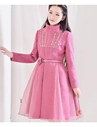 Feminino Casaco Para Noite Casual Férias Fofo Inverno, Sólido Rosa Pêlo Sintético Colarinho Chinês-Manga Longa Grossa