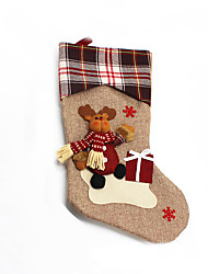 Christmas Toys / Gift Bags Holiday Supplies Santa Suits / Elk / Snowman Textile Dark Red / Coffee / Khaki All