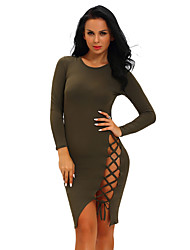 Women's Lace up|Backless Club Sexy Bodycon DressSolid Crew Neck Knee-length Long Sleeve Black Polyester / Spandex Summer