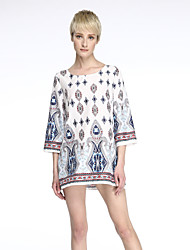 Women's Boho Casual/Daily Boho Loose Backless Dress,Print Round Neck Mini ¾ Sleeve White