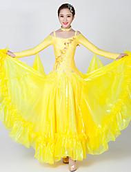 Danse de Salon Robes Femme Spectacle Elasthanne Tulle Fantaisie 2 Pièces Manche longue Robe Tour de Cou
