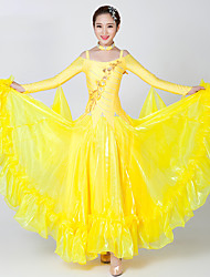 Robes de balle de danse de danse / spandex / strass en tulle 2 pièces robe / collier