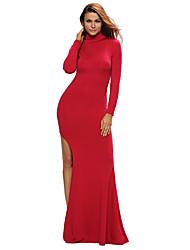 Women's Long Sleeves Side Split Slit Jesery Maxi Dress
