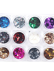 12Pcs/box Fashion Colorful Triangle Nail Art Decoration Rhinestone Pearls Makeup Cosmetic Nail Art Design
