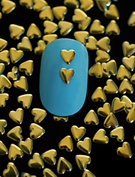 100pcs 4 milímetros * 4 milímetros de ouro coração de metal arte rebite decoração de unhas