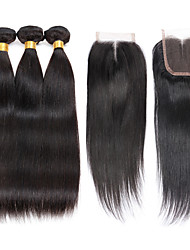 7A Brazilian Human Virgin Hair Straight 4*4 Lace Closure With 3 Bundles Hair Weft
