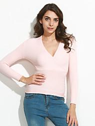 Damen Standard Pullover-Lässig/Alltäglich Einfach Solide Rosa Weiß Schwarz Tiefes V Langarm Baumwolle Acryl Herbst Winter Dünn Dehnbar