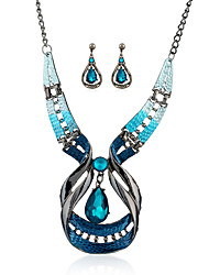 Jewelry Set Simulated Diamond Drop Blue Wedding Party Daily Casual 1set 1 Necklace 1 Pair of Earrings Wedding Gifts