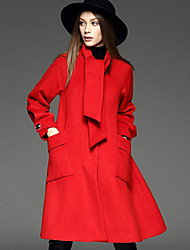 WEIWEIMEI  Women's Casual/Daily Simple CoatSolid Round Neck Long Sleeve Fall / Winter Red Wool / Polyester