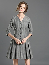 INPLUS LADY Women's Casual/Daily Simple A Line DressStriped V Neck Above Knee  Length Sleeve Gray Polyester Spring / Fall High Rise Micro-elastic