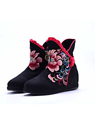 Women's Boots Spring Fall Comfort Canvas Outdoor Dress Casual Low Heel Satin Flower Flower Black Blue Red Walking