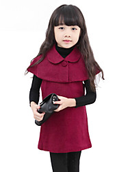 Girl's Fashion Wool Blend Winter/Spring/Fall Going out Casual/Daily Two-piece Set Cape Dress