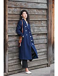sinal de outono novas mulheres&# 39; s trespassado casaco colarinho longo casaco jaqueta de ponto joelho magro