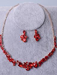 Schmuck Halsketten Ohrringe Braut-Schmuck-Sets Set Hochzeit Party 1 Set Damen Goldfarben Silber Hochzeitsgeschenke