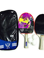 Ping Pang/Table Tennis Rackets Ping Pang Wood Long Handle Pimples 2 Rackets 3 Table Tennis Balls Indoor-#