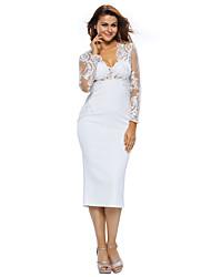 Women's Seductive Lace Top Long Sleeve Midi Dress