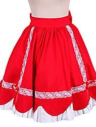 Skirt Sweet Lolita Princess Cosplay Lolita Dress Red Solid Sleeveless Knee-length Skirt / Petticoat For Women Cotton