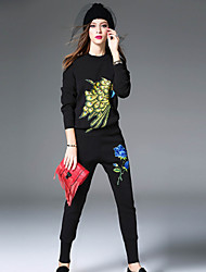 WEIWEIMEI Women's Casual/Daily Simple Fall / Winter Set Skirt SuitsPrint Stand Long Sleeve Multi-color Cotton / Polyester