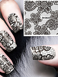 Fashion Printing Pattern Black Lace Transfer Printing Nail Stickers