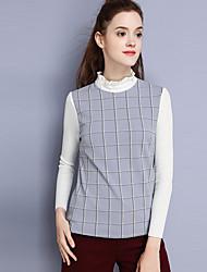 Feminino Camiseta Casual SimplesEstampa Colorida Poliéster Fibra Sintética Elastano Colarinho Chinês Manga Longa