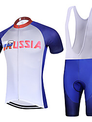 Sports QKI RUSSIA Cycling Jersey with Bib Shorts Men's Short Sleeve BikeBreathable / Quick Dry / Anatomic Design / Back Pocket /3D Coolmax Gel Pad