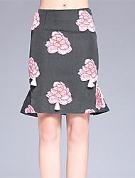 Damen Röcke,Trompete/Meerjungfrau Blumen Jacquard,Lässig/Alltäglich Einfach Mittlere Hüfthöhe Knielänge Reisverschluss Polyester
