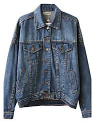 Feminino Jaquetas Jeans Para Noite / Casual Simples / Moda de Rua Outono / Inverno, Bordado Azul Poliéster Colarinho de Camisa-Manga Longa